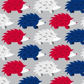Hedgehogs on Parade (Red, White, Blue and Silver Large)
