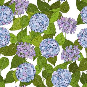 Hydrangea tile white - large