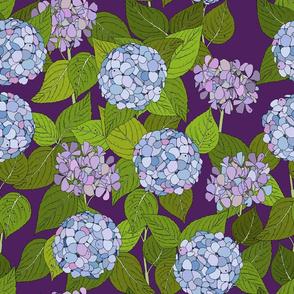 Hydrangea tile purple - large