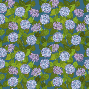 Hydrangea tile dinosaur blue - medium