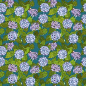 Hydrangea tile turquoise - medium