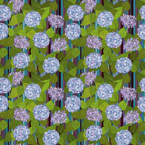 Hydrangea tile orchid stripe - medium