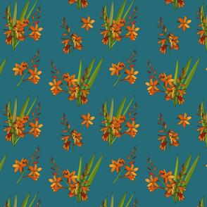 Montbretia scatter repeat turquoise