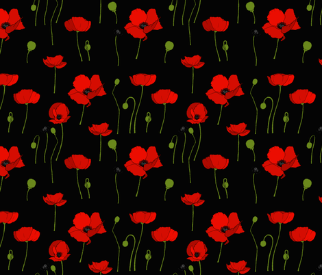 Poppies scatter black fabric by coppercatkin on Spoonflower - custom fabric