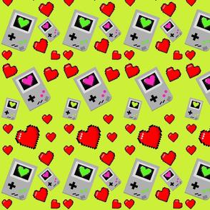 handheld videogame pixel hearts 2