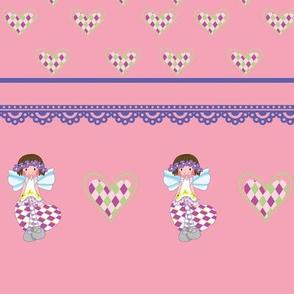 Fairy girl border, pink, Fairy collection