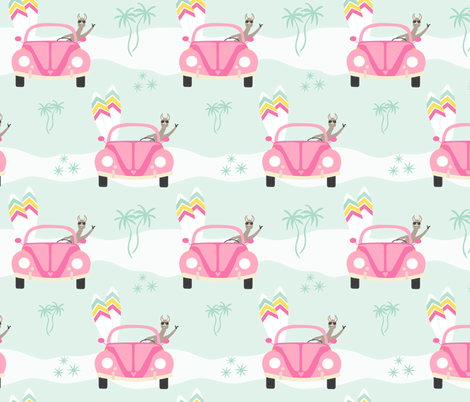 Let's go surfing! - mint fabric by vivdesign on Spoonflower - custom fabric