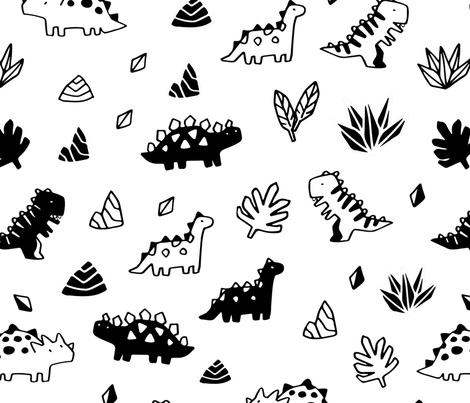 Sketchy tropical leaves, rocks and ancient dinosaurs design. Cute black and white dino pattern. fabric by kostolom3000 on Spoonflower - custom fabric