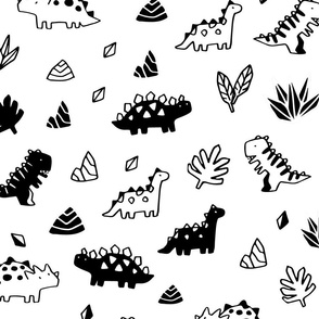 Sketchy tropical leaves, rocks and ancient dinosaurs design. Cute black and white dino pattern.