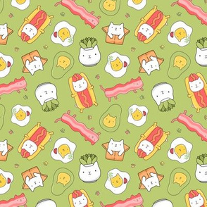 SMALL Cat hotdog, cat succulent, cat avocado, egg cat, bacon cat GREEN