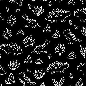 Sketchy tropical leaves and ancient dinosaurs design. Cute black and white dino pattern.