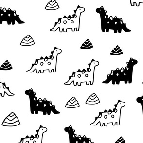 Sketchy rocks and ancient dinosaurs design. Cute black and white dino pattern.