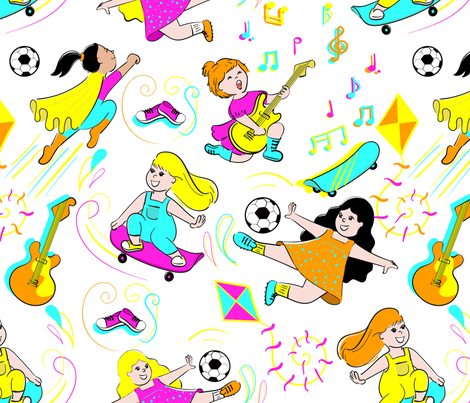 Girls can do everything fabric by studio_debelle on Spoonflower - custom fabric