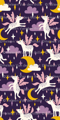 Unicorns in the sky in purple (medium/dark)