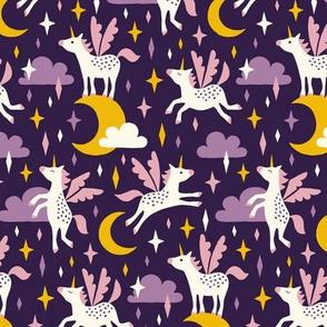 Unicorns in the sky in purple (medium/dark)