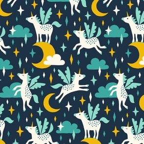 Unicorns in the sky in turquoise (medium/