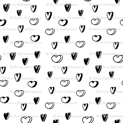 Sketch hearts pattern