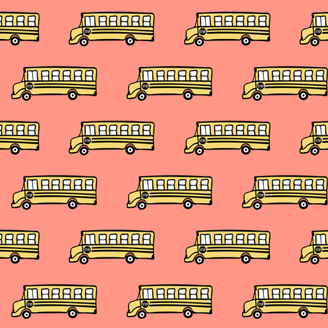 school bus - coral fabric by littlearrowdesign on Spoonflower - custom fabric