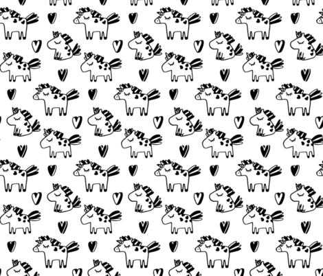 Cute unicorns pattern. Adorable sketch fairy animals. Mythical, dreamy black and white design. fabric by kostolom3000 on Spoonflower - custom fabric