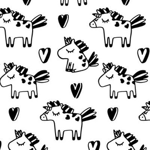 Cute unicorns pattern. Adorable sketch fairy animals. Mythical, dreamy black and white design.