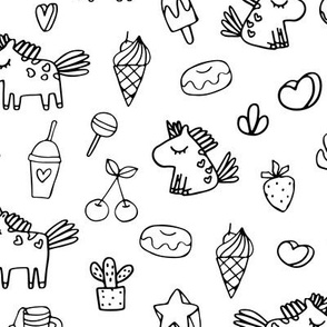 Cute unicorns and food pattern. Sketch fairy animals. Mythical, dreamy black and white design.