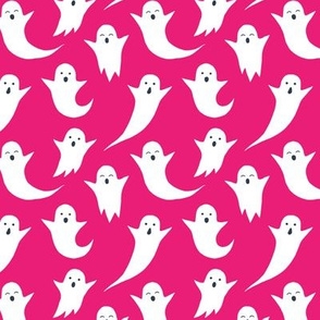 Halloween ghosts on pink (without spiders)