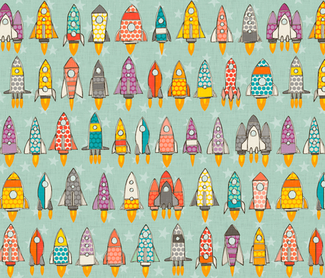 retro rockets mint fabric by scrummy on Spoonflower - custom fabric