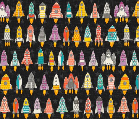 retro rockets graphite fabric by scrummy on Spoonflower - custom fabric