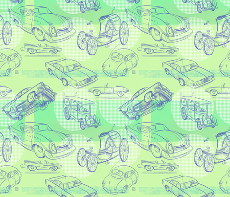 Retro Dream Four Wheels Copyright 2018 by Edward Huse fabric by edwardhuse on Spoonflower - custom fabric