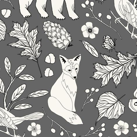 Rustic Toile -H White, Grey fabric by fernlesliestudio on Spoonflower - custom fabric