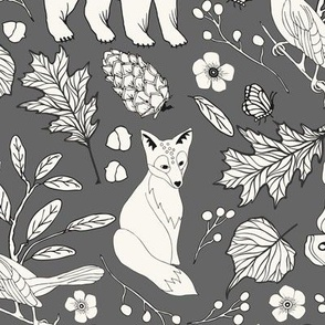 Rustic Toile -H White, Grey