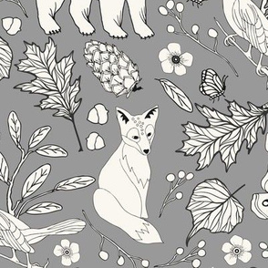 Rustic Toile - H White, Lt Grey