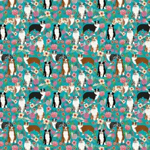 australian shepherd (small scale) dogs floral cute aussie dog vintage flowers fabric turquoise dog fabric cute aussie dog gift