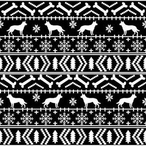 australian kelpie fair isle dog breed christmas fabric black