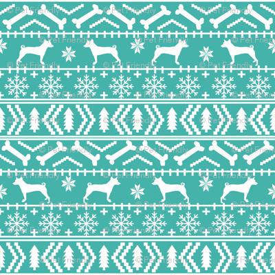 basenji fair isle christmas silhouette dog fabric bright blue