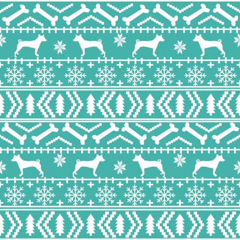 basenji fair isle christmas silhouette dog fabric bright blue fabric by petfriendly on Spoonflower - custom fabric