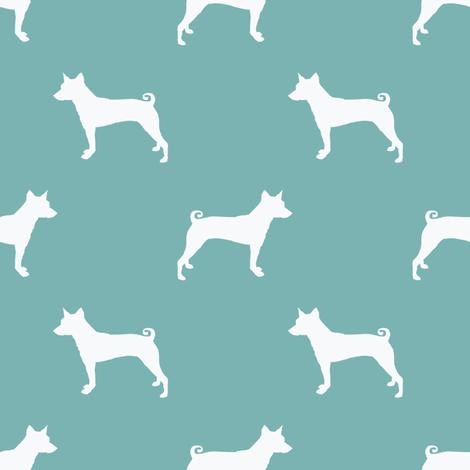 basenji silhouette dog fabric bright blue fabric by petfriendly on Spoonflower - custom fabric