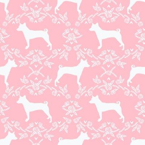 basenji floral silhouette dog fabric pink