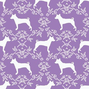 basenji floral silhouette dog fabric purple