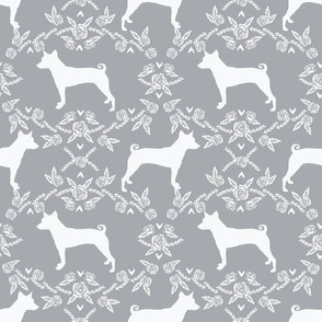basenji floral silhouette dog fabric grey