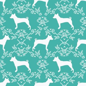 basenji floral silhouette dog fabric bright blue