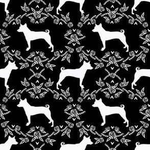 basenji floral silhouette dog fabric black