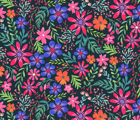 Painted Flowers fabric by jill_o_connor on Spoonflower - custom fabric