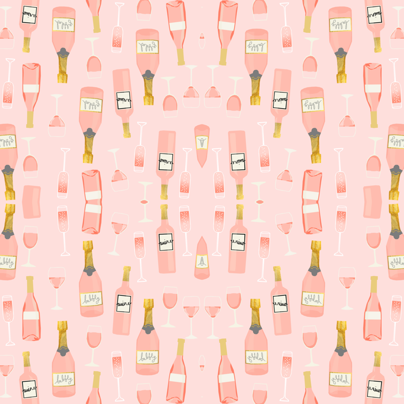 968231b3ed094e rosé all day wine fabric brunch pink fabric - charlottewinter - Spoonflower