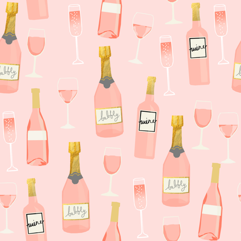 rosé all day wine fabric brunch pink fabric by charlottewinter on Spoonflower - custom fabric