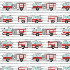 "(1"" scale) watercolor firetruck on stripes C18BS"