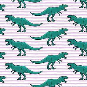 (large scale) t-rex - dinosaur on light purple stripes C18BS