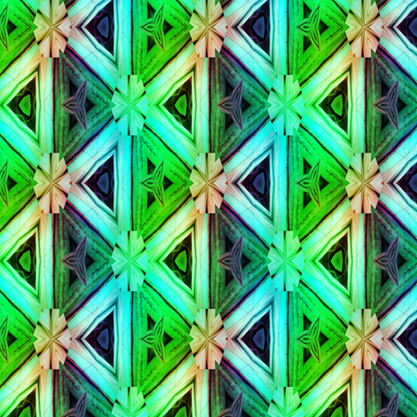 bamboo 10 marquetery triangles blue aqua green fabric by paysmage on Spoonflower - custom fabric