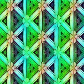 bamboo 10 marquetery triangles blue aqua green