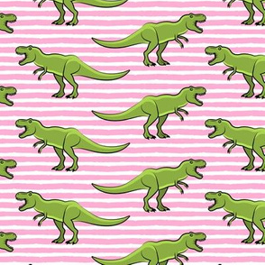 (large scale) t-rex - dinosaur on pink stripes C18BS